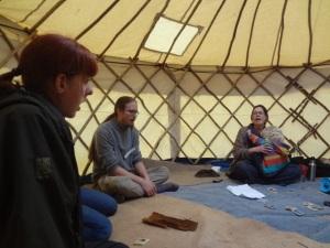 Us singing in a yurt
