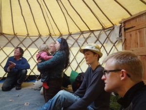 more of us singing in a yurt