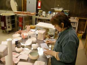 my and my body of work in the glaze room.